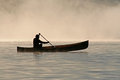Silhoutte of a canoeist Royalty Free Stock Photo