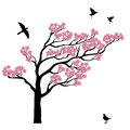 Silhoutte of sakura tree with birds Royalty Free Stock Photo