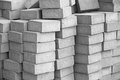 Silicate grey paving bricks in stacks Stock Photo