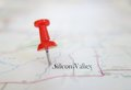 Silicon valley closeup of a tack in a map with text Stock Photography