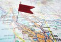 Silicon valley map of california with red flag pin Stock Photo