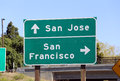 Silicon valley a sign in showing the way to either san jose or san francisco Stock Images