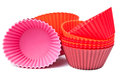 Silicone baking cups for muffins or cupcake Royalty Free Stock Photography