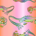 Silk dragons pattern Royalty Free Stock Photo