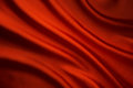 Silk Fabric Wave Background, Abstract Red Cloth Texture Royalty Free Stock Photo