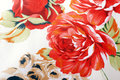 Silk floral fabric with red rose Stock Image