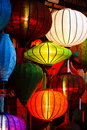 Silk Lanterns Glowing at Night Stock Photos