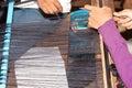Silk making cambodia Stock Image