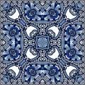 Silk neck scarf or kerchief square pattern design in ukrainian karakoko style for print on fabric vector illustration Stock Images