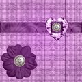 Silk Ribbon Lavender Heart Stock Image