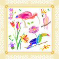 Silk scarf with flowers and tropical birds.