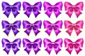 Silk ultra violet and pink bows with golden border and glitter