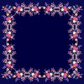 Silk vintage scarf with bright floral ornament and paisley on dark blue background. Greeting or invitation card