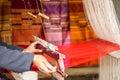 Silk weaving at north Laos. Royalty Free Stock Photo