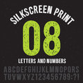 Silkscreen print style letters and numbers. Vintage grunge alphabet vector set