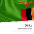 Silky flag of Zambia waving on an isolated white background with the white text area for your advert message.