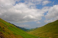Silky grassland with valley in lake district around buttermere Royalty Free Stock Photography