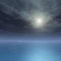 Silky ocean on bright star night a horizon with a sea and moon background Stock Image