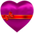 Silky Satin Pink Heart with Red Ribbon Royalty Free Stock Photo