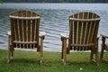 Sillas por el lago Foto de archivo
