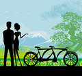 Sillhouette of sweet young couple in love standing in the park illustration Stock Image