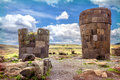 Sillustani - pre-Incan burial ground (tombs) on the shores of La Royalty Free Stock Photo