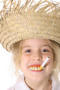 Silly smoking child upclose Royalty Free Stock Images