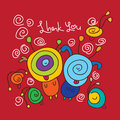 Silly thank you love red illustration cartoon funny happy color background hand drawing Stock Photos