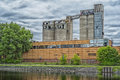 Silo in griffintown in montreal quebec canada on a cloudy day Stock Images