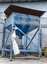 Silo steel use for fill paddy rice into big bag Stock Image