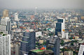 Silom, Chinatown and Chao Phraya river from above in Bangkok