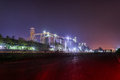 Silos in the city night sky Royalty Free Stock Photos