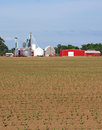 Silos and red barns Royalty Free Stock Images