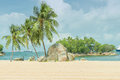 Siloso beach in Sentosa island, Singapore Royalty Free Stock Photo