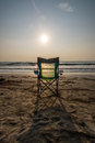 Silouette beach chairs at sunsetp sunset vacation sunset concep Stock Photography