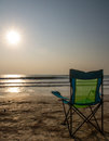 Silouette beach chairs at sunsetp sunset vacation sunset concep Stock Images