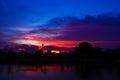 Silouette sunset at twilight ,Samutprakarn Thailand Royalty Free Stock Photo