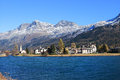 Sils maria in engadin near st moritz lake at Stock Photography