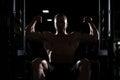 Siluet Bodybuilder Man Posing In The Gym Royalty Free Stock Photo