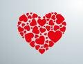Silueta de corazón creada con corazones rojos blank page letter with red ribbon Stock Photography