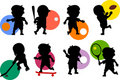 Siluette dei bambini [sport 1] Immagini Stock