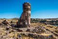 Silustani tombs peruvian Andes Puno Peru Royalty Free Stock Photo
