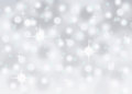 Silver abstract bokeh snow falling winter christmas holiday background Royalty Free Stock Photo
