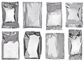 Silver aluminum bag collection of various paper and bags on white background each one is shot separately Royalty Free Stock Photo