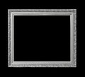 Silver antique picture frame for oil painting isolated on black Royalty Free Stock Photo