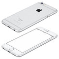 Silver Apple iPhone 6s mockup lies on surface clockwise rotated Royalty Free Stock Photo