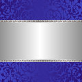 Silver background blue and with ornaments Royalty Free Stock Photo