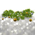 Silver background with fir branches abstract texture twigs and golden balls vector Stock Image