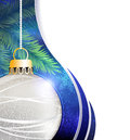 Silver ball christmas tree decoration on a blue sparkling background with white place for text Stock Photo
