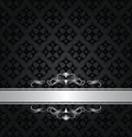Silver banner on black floral seamless pattern Royalty Free Stock Photo
